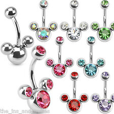 Mouse Triple CZ Gem Belly Ring Pierced Navel Naval Mickey Minnie