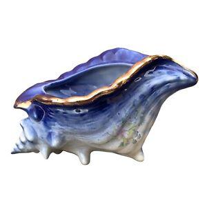 Vintage China Porcelain Conch Shell Succulent Plant Pot Vase Bathroom Decor