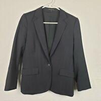 Theory Womens Blazer Jacket Size 6 Navy Blue Wool Blend Work One Button