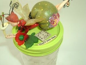 Fairy Mason Jar Art Upcycled Mixed Media Green Now is your time inspirational