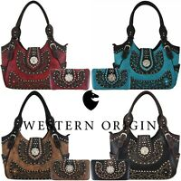 Western Country Studded Handbag Concealed Carry Purse Women Shoulder Bag Wallet