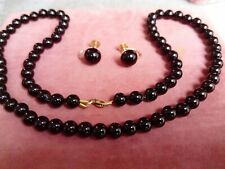 Vintage Style Set Black Onyx 9ct gold - Necklace + Earrings Screw Back