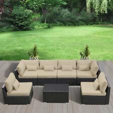 7Pc Outdoor Patio Furniture Rattan Sectional Wicker Sofa set Light Beige