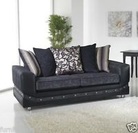 Grey Black Diamonte Fabric Material 3 Seater + 2 Seater Sofa Suite GLITTER