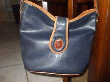 Oggi Domani Blue & tan leather brass rivet bottom shoulder bag pocket & mirror