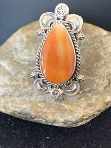 WoMens Native American Sterling Silver Orange Spiny Oyster Ring Set Sz 8 461