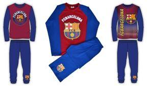 Boys Kids Barcelona Pyjamas Nightwear Long Sleeve PJs Barca 4 to 12 years