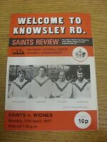 11/04/1977 Rugby League Programme: St Helens v Widnes  . Item appears to be in g