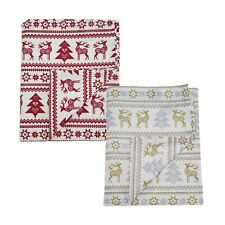 Christmas Table Cloth Cotton Nordic Reindeer Print 140 x 230cm