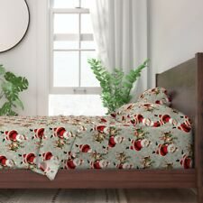 Santa Claus Xmas Christmas Wreaths Snow 100% Cotton Sateen Sheet Set by Roostery