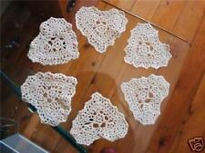 """6 Small Heart Shape Hand Crochet Cotton Doilies 4""""  CR001"""