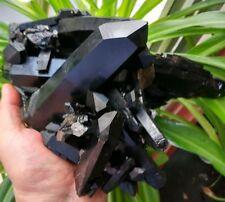 F869  Natural Beautiful Black Quartz Crystal Cluster Mineral Specimen 2817g