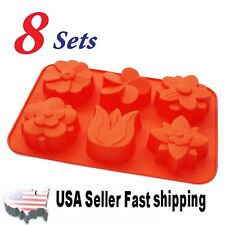 Set of 8 Lily Flower Silicone Mold Soap DIY Handmade Soap Mold ~ US Seller