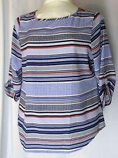 """Croft Barrow Womens XL Blouse Top Blue Black White Orange """"X""""s Dots Stripe"""