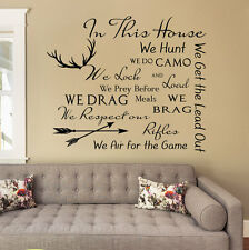 IN THIS HOUSE WE HUNT Home Rules Deer Removable Wall Decal Vinyl Quote Decor