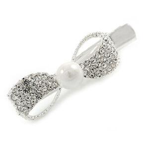 Clear Crystal Bow Hair Beak Clip/ Concord Clip/ Clamp Clip In Silver Tone -