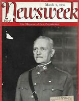 NEWSWEEK MARCH 7 1938 -GENERAL JOHN J JOSEPH PERSHING WWI - COVER & STORY