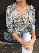 NEW JEFF GALLANO PARIS GREY ANIMAL PRINT KAFTAN TOP SIZE 1 UK10/12