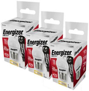 Energizer LED Golfball Light Bulb 5.2w = 40w E27 Opal Warm White 2700k - 3 Pack
