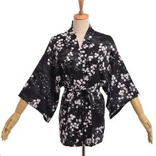1pc Japanese Black Yukata Kimono Coat Women Floral Sakura Printed Cardigan