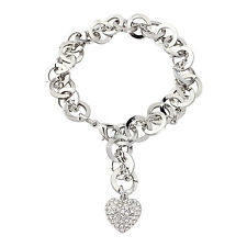 Pretty14K Silver Tone Link Chain Crystal Heart Charm Bracelet Swarovski Element