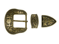 Western Cowboy Rodeo Antique Brass Plated 3 Piece Belt Buckle Set