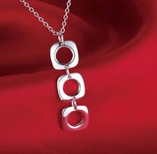 """Fashion Jewelry 925 Silver Plated 20"""" Link Chain 3 Hoop Pendant Necklace 10-7"""