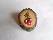 Vintage Painted Red Cherries Handcrafted Wooden Hap Signed Pinback Brooch Pin