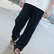 Mens Linen Loose Pants Beach Drawstring Yoga Casual Long Slacks Trousers Hot