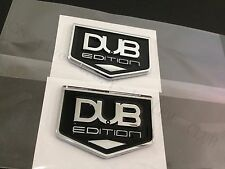 TWO- 3D DUB EDITION Universal Car Badge Emblem Stick On Hood Fender Trunk 300