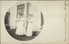 Young Girls & Their Dolls - Dunnell MN Cancel 198 Real Photo Postcard
