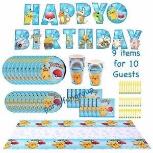 Pokemon Party Supplies Party Value set for 10 Guests Party decoration