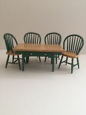 Dolls house Miniature DARK GREEN Wooden TABLE & CHAIRS SET 1:12 Streets Ahead
