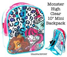 "Monster High Dolls 10"" CLEAR Mini BACKPACK Toddler Girls School Concert Game Bag"