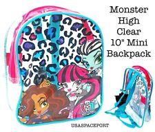 "Monster High Dolls 10"" CLEAR Mini BACKPACK Toddler Girls School Concert Game Bag"