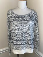 NEW Honeydew Women's Large Long Sleeve Sweater Top Gray White - Super Soft $54