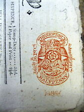 1806 Northampton newspaper w RED BRITISH HALFPENNY TAX STAMP atTOP of front page