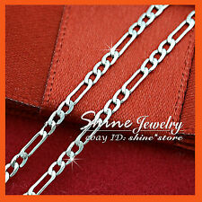 9K GOLD GF N90 SILVER FIGARO CURB LINKS CHAIN MENS WOMENS SOLID NECKLACE 50CM