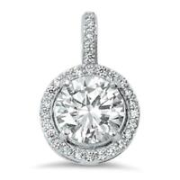 4 ct. White Sapphire Halo Pendant Necklace ~ 14k White Gold/Sterling Silver