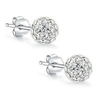 925 Sterling Silver Round Ball Cubic Swarovski Elements Crystal Stud Earrings