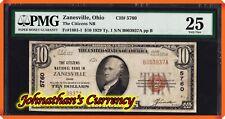 JC&C -1929 $10 The Citizens NB in Zanesville , Ohio #5760 - PMG Very Fine 25
