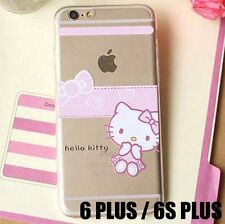 For iPhone 6+ / 6S+ Plus - SOFT RUBBER SKIN CASE COVER PINK CLEAR HELLO KITTY