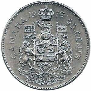 1979 Canada 50 Fifty cent Coin Canada Half Dollar Coat of Arms Queen Elizabeth