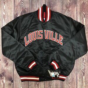 NWT Vintage STARTER NCAA Louisville Cardinals Black Satin Jacket Size Large