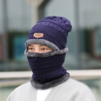 2pcs Set Knitted Scarf Winter Men's Beanie Hat Skull Warm Cap with