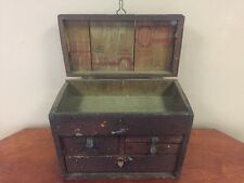 Primitive Antique Wood Vtg Carpenters-Fishing Tool Chest Wooden Storage Box.