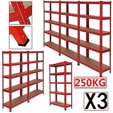 5 Tiers 3 RACKING Bays Heavy Duty Metal Shelving Unit Warehouse Garage Storage