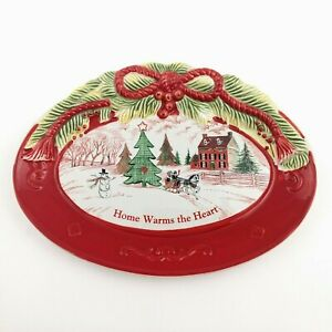 Fitz & Floyd Home Warms the Heart Christmas Sentiment Tray Holiday Sleigh Snow