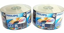 100 PHILIPS Blank CD-R CDR Logo Top 52X 700MB 80min Recordable Media Disc