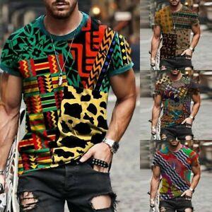 Men's Abstrac Print Short Sleeve T-shirt Casual Sports Crew Neck Tops Blouse Tee